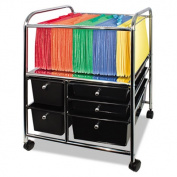 Letter/Legal File Cart w/Five Storage Drawers, 21-1/8 x 15-1/4 x 28-3/8, Black