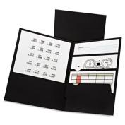 Divide It Up Four-Pocket Paper Folders, 11 x 8-1/2, Black, 20/Box