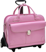 McKlien 96619 Lakewood 96619- Pink Leather Fly-Through Checkpoint-Friendly Detachable-Wheeled Ladies Briefcase