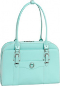 McKlien 96528 Hillside 96528- Aqua Blue Leather Ladies Briefcase