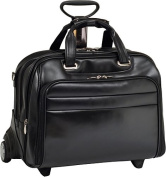 McKlien 86605 Midway 86605- Black Leather Fly-Through Checkpoint-Friendly 17 in. Detachable Wheeled Laptop Case