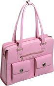 McKlien 96629 Verona 96629- Pink Leather Fly-Through Checkpoint-Friendly Ladies Briefcase