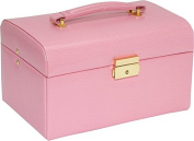 Budd Leather 543674-25 Large Lizard Print Leather Jewelr Box With Handle - Pink