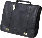 Claire Chase 160E-black Leather Messenger Briefcase - Black