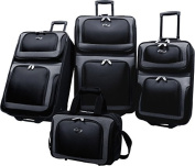 Travelers Choice US6300K U.S. Traveler New Yorker 4-Piece Luggage Set in Black