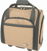 Travelon 64547 Quilted Microfiber Wheeled Underseat Carry-On With Back-Up Bag - Khaki