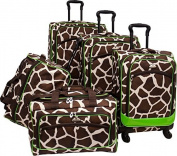 Animal Print 5 Piece Spinner Luggage