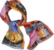 Laurel Burch Scarves-Feline Family Portrait W/Sequins