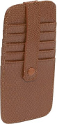 Budd Leather 552253L-51 Lizard Print Leather 10 Credit Card Stacker Wallet - Cognac