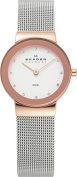 Skagen Women's Classic 358SRSC Silvertone Stainless Steel Quartz Watch with White Dial