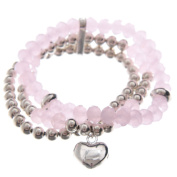 Multi Silver & Pink Beaded Bracelet with Heart Charm