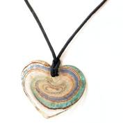 Glass Heart Pendant Swirl  White  Green & Blue