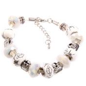 Beaded Bracelet Silver & White Oriental Pattern