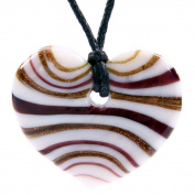Glass Heart Pendant Necklace - Gold & Burgandy
