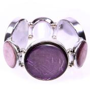 Capiz Round Stone Bracelet - Purple