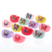 Colourful Acrylic Butterfly Picture Ring