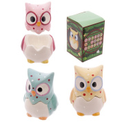 1pc Ceramic Polka Dot Owl Egg Cup with Salt Cellar Top