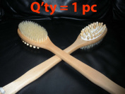 Touch Me Long Handle Deluxe Natural Bristle Wooden Bath Body Massage Back Brush Spa 2-in-1