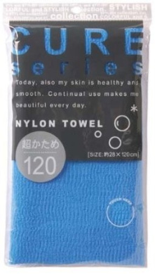 Cure Series Japanese Exfoliating Bath Towel from OHE - Super Hard Weave - Blue, 120cm