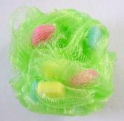 Bathery Polka Dot Nylon Bath Sponge with Strap, GREEN