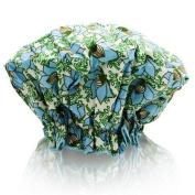 Spa Sister Bouffant Shower Cap, Blue Floral Print.