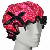 Kella Milla . Satin Shower Cap - Pink Polka Dots & Bow