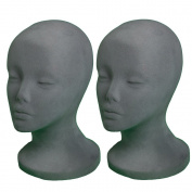 2 PCs A1Pacific 27.9cm GREY Velvet STYROFOAM FOAM MANNEQUIN MANIKIN head wig display hat glasses