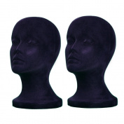 2PCs A1Pacific 27.9cm BLACK Velvet STYROFOAM FOAM MANNEQUIN MANIKIN head wig display hat glasses