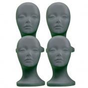 4 PCs A1Pacific 27.9cm GREY Velvet STYROFOAM FOAM MANNEQUIN MANIKIN head wig display hat glasses