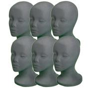 6 PCs A1Pacific 27.9cm GREY Velvet STYROFOAM FOAM MANNEQUIN MANIKIN head wig display hat glasses