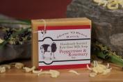 Handmade 100% Raw Goat Milk Peppermint & Rosemary Soap