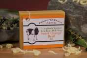 Handmade 100% Raw Goat Milk Sweet Orange Basil Soap