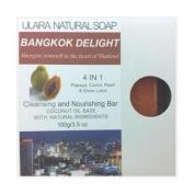 Natural Papaya Soap + Carrot, Snow Lotus, & Pearl - Ulara Bangkok Delight 10.2cm 1 - 100g/100ml - Made with Pure Coconut Oil