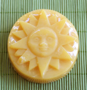Sun with Face Organic Rose Aromatherapy Hand-Made Glycerin Soap in Yellow