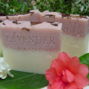 Handmade Provence French Lavender Egyptian Geranium with Rose Clay, Crushed Flowers and Organic Shea Butter Soap)