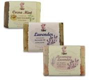 I-Wen Rosemary Lavender, Lavender & Cocoa Mint handmade soap set