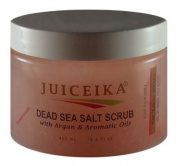Dead Sea Salt Scrub with Argan & Aromatic Oils -Pomegranate Scent (15.5 fl.oz.-450ml) by Juiceika