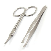 Women Flat Edge Tweezers Metal Scissors Eyebrow Trimmer Beauty Tool