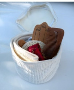Bath Beauty Spa Travel Set-Re-Useable Waffle Cotton Bag w/Adorable Embroidery Like Designs,Contains:Pumice Stone, Sisal Facial Puff,Hair Brush, Anti-Static Wooden Comb, Gorgeous Lipstick Case, Reflexology Hand Paddle, and Natural Ramie Bath Scrubber The M