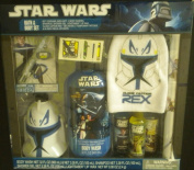 Star Wars Bath & Body Set Clone Captain Rex Mitt Wash Shampoo Lightsaber Lip Wax ++