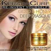DEEP REPAIRATION CONDITIONING MASQUE CREAM MASK 260ml - GOLD & HONEY KERATIN CURE 250GR - CONTAINS ARGAN OIL,contains Argan Oil,Shea Butter, Honey