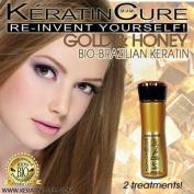 Keratin Brazilian Hair Treatment Keratin Cure Gold & Honey Bio-Brazilian Silky, Shiny Repair and Straightener Treatment 160ml 4.1 Fl Oz NEW FORMULA