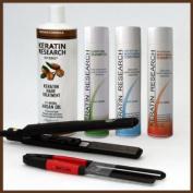Complete Brazilian Keratin Hair Treatment 4 Bottles 1000ml Kit with Easy Comb and Turbo 450 Flat Iron Lifetime Warrantee