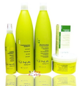 UNA Oxygenating Treatment Against Hair Loss Drops Rolland 3.17oz+Intensive Protein Treatment500ml+Revitalising Conditioner 1000 mL+Compensating Shampoo 1000ml+Vitamin Leave-in Treatment 250 mL