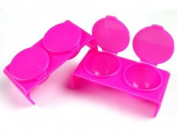 2PC Plastic Nail Art Double Dappen Dish Case Nail Liquid Powder Acrylic