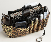 Jolie Leopard and Black Handbag Organiser Tote Travel Cosmetic Make-Up Bag Very Lightweight Insert Dimensions