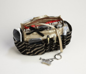 3-6. Jolie Bronze and Black Zebra Flock Tote Travel Cosmetic Make-Up Bag Very Lightweight Handbag Organiser Insert Dimensions