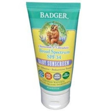 Badger Chamomile and Calendula Broad Spectrum SPF 34 Baby Sunscreen 90ml