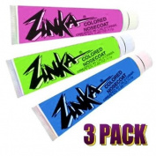 Zinka Coloured Sunblock Zinc Waterproof Nosecoat 3 Pack Bundle 20ml Tube - Blue Pink Green