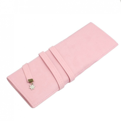 Pink Faux Leather Cosmetic Pencil Pen Brush Bag